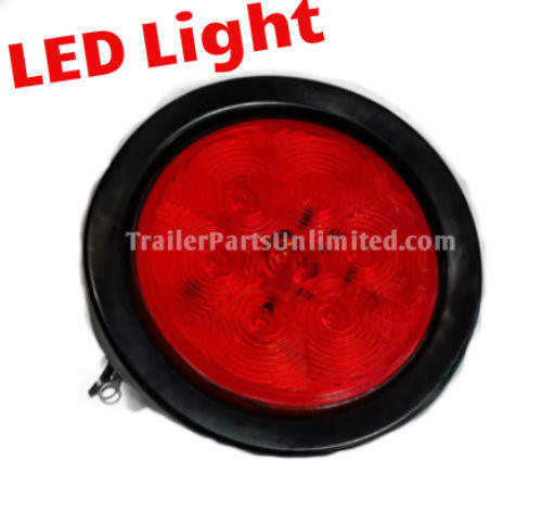 "4"" Round Red 10 LED Stop, Turn, Tail, w/ Rubber Grommet 3 prong plug"