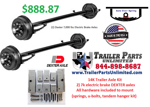 Tandem Trailer Axle Set. 14K axle package with all hardware needed to mount to trailer