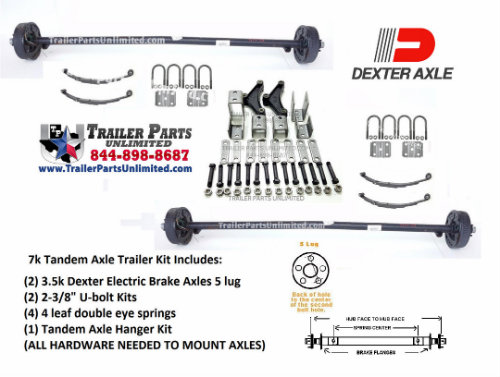 Dexter 7K Tandem Axle Trailer Set w/ All Hardware Included To Mount To Trailer
