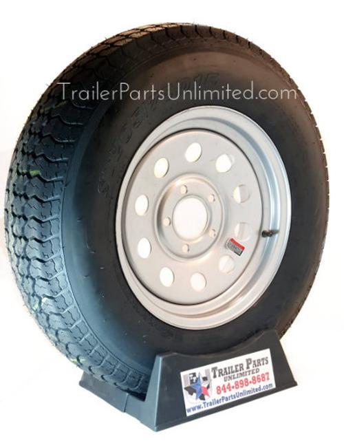"ST205/75D15 6-Ply Bias Tire on Silver Mod Wheel 5x4.5"""
