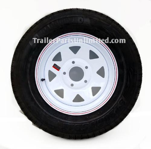 """ST205/75D15 6-Ply Bias Tire on White Spoke Wheel 5x4.5"""""""