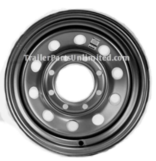 """16"""" Trailer Wheel. Silver mod 8 lug on 6.5"""" bolt pattern."""