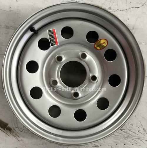 """15"""" Silver Mod Steel Trailer Wheel 5x4.5"""" Bolt Pattern"""