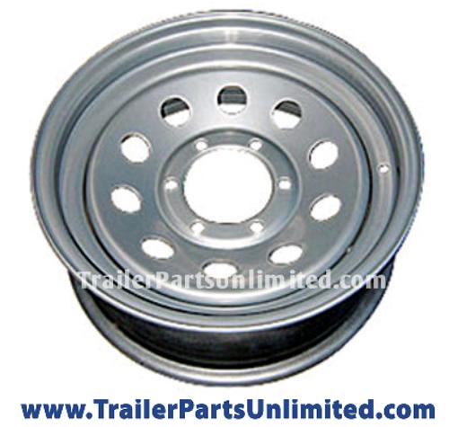 """16"""" Silver Mod Steel Trailer Wheel 6x5.5"""" Bolt Pattern"""