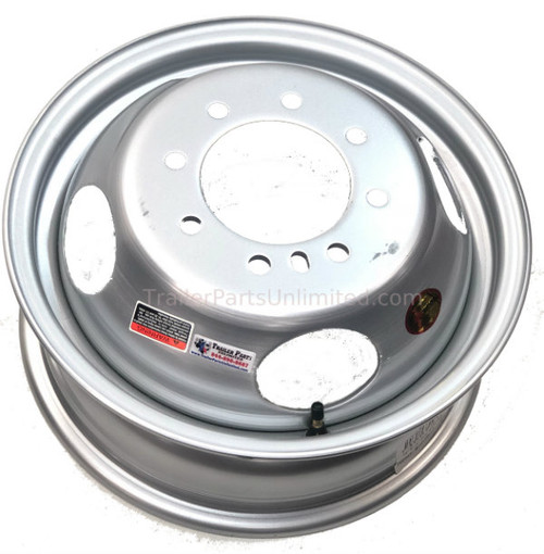 "16"" Silver Dual Steel Hub Piloted Wheel 8x6.5"" 4.77"""