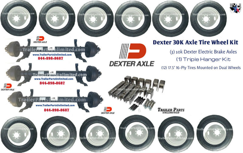 Dexter 30k Triple Trailer Axle Tire Wheel Heavy Haul Trailer Kit