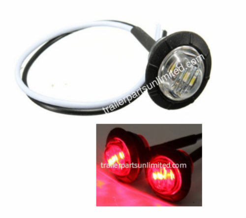 "Mini 3/4"" Round Red Led Marker light Clear Lens Grommet kit"