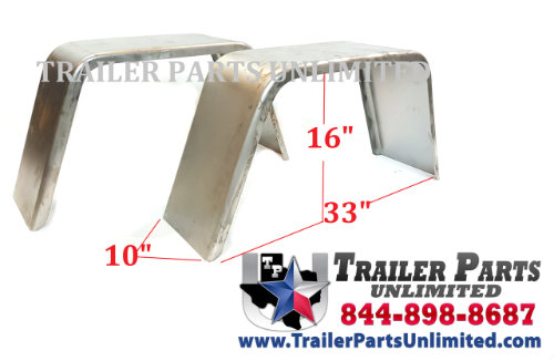"Jeep Style Single Axle Trailer Fender 10"" x 33"" x 16"""
