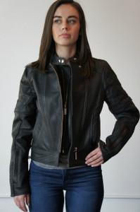 Ladies Black Leather Riding Jacket - Large