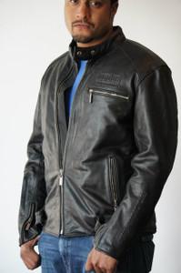 Men's Black Leather Riding Jacket - Extra Large