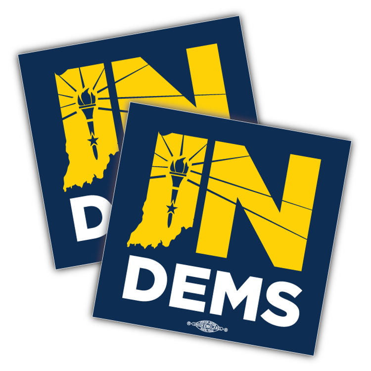"Indiana Democrats Official Logo (4"" x 4"" Vinyl Sticker -- Pack of Two!)"