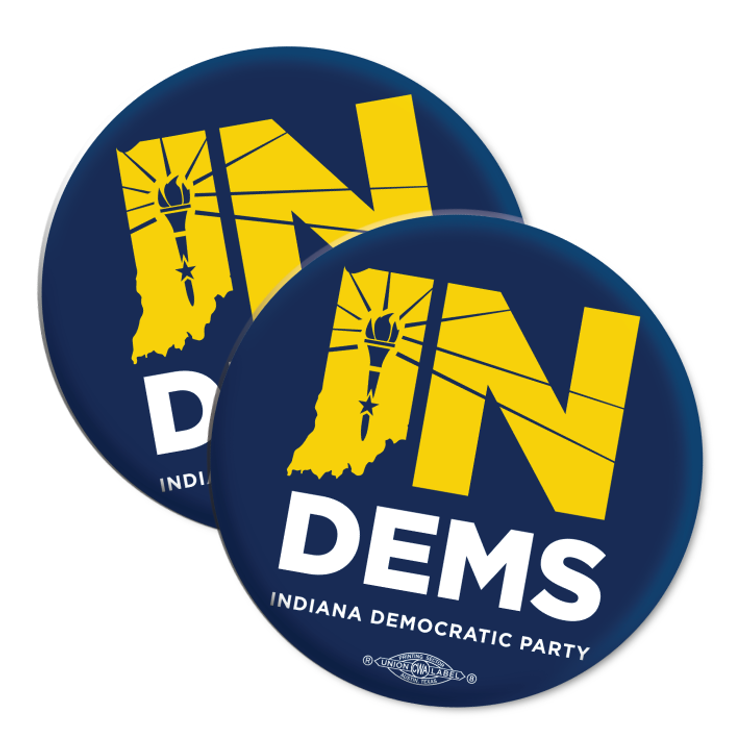 "Indiana Democrats Official Logo (2.25"" Mylar Button -- Pack Of Two!)"