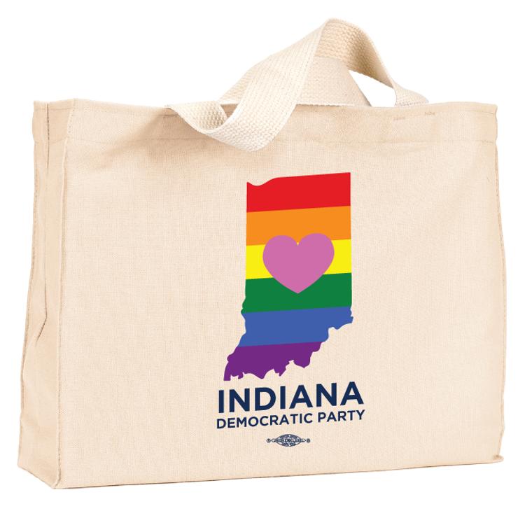 Indiana Democratic Party Pride  (Natural Canvas Tote)