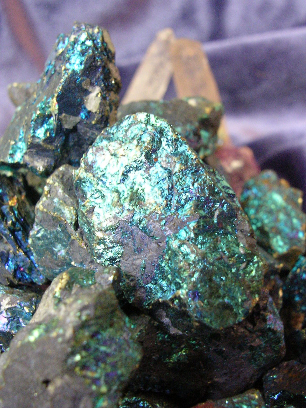3 Peacock Pyrite Gemstones, Earth and Fire Energies, Metaphysical