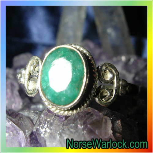 Lucky Emerald Magick Money Ring for Good Fortune and Prosperity