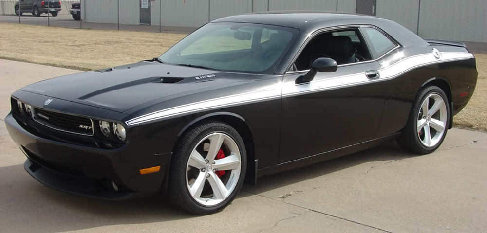 08-14 Dodge Challenger Classic Track Graphic Kit Front Angle