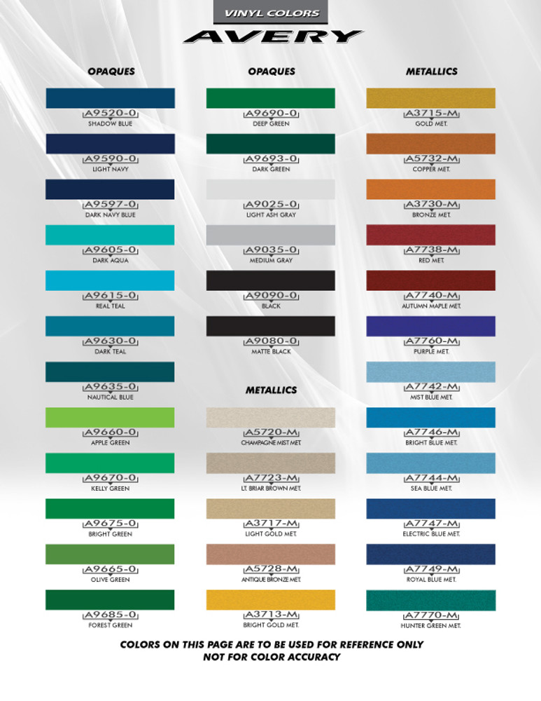 Avery Color Chart Page 2