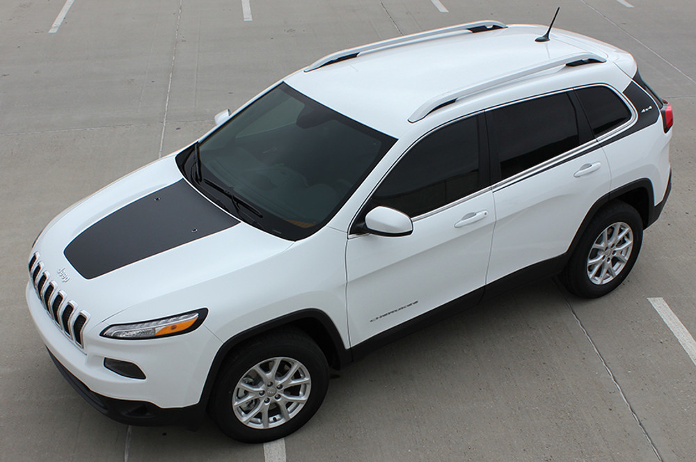 2014 2015 2016 2017 Jeep Cherokee Warrior Side Vinyl Stripes Graphic Kit Top View Shown with T-Hawk Hood Stripe