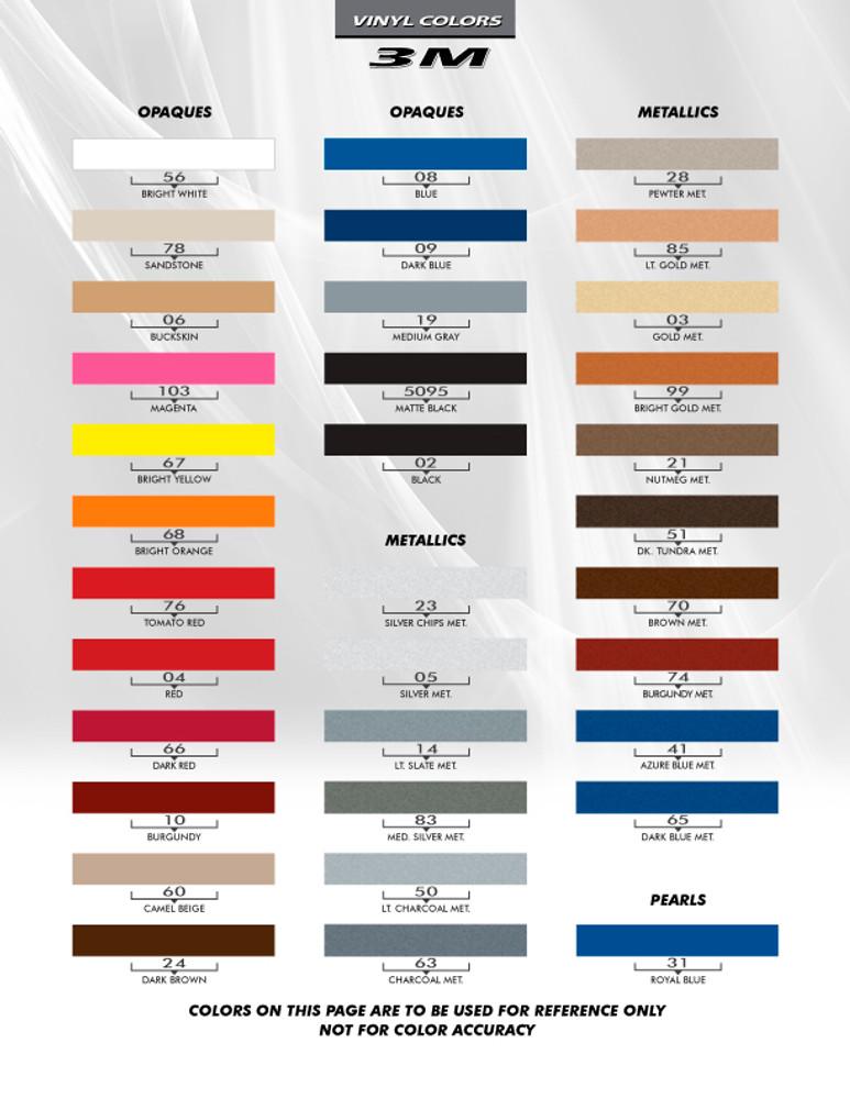 3M Pinstripes Stripes & Graphics Color Chart