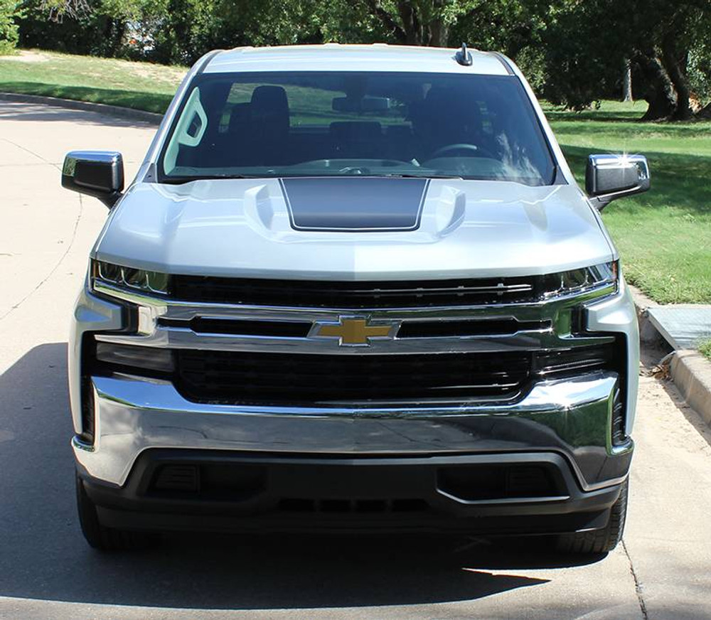 2019 Chevy Silverado T-Boss Hood Graphic Kit With Border Stripe