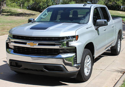 2019 Chevy Silverado T-Boss Hood Graphic Kit Solid Front View