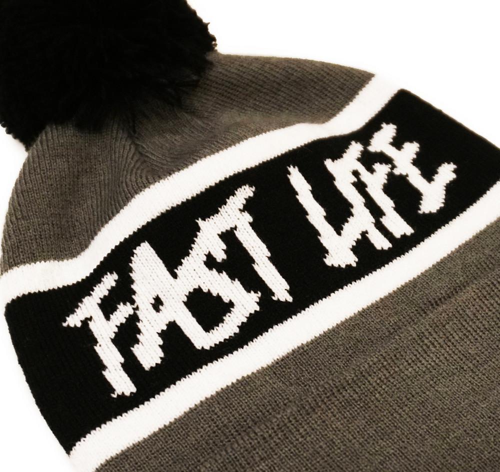 Fast Life Pom Beanie   Grey/Black