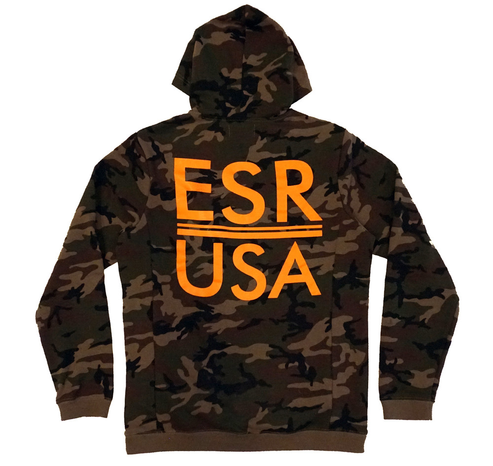 Pull Over Hoodie ESR USA |  Camo/Orange