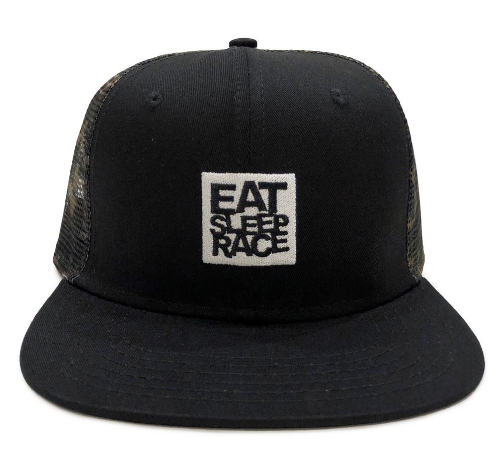 Logo Square Mesh Trucker Hat | Camo/White