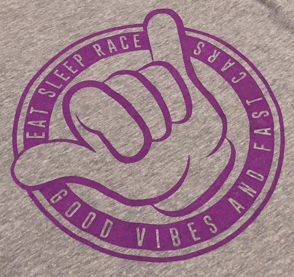 Ladies Shaka V-Neck Shirt | Grey/Purple