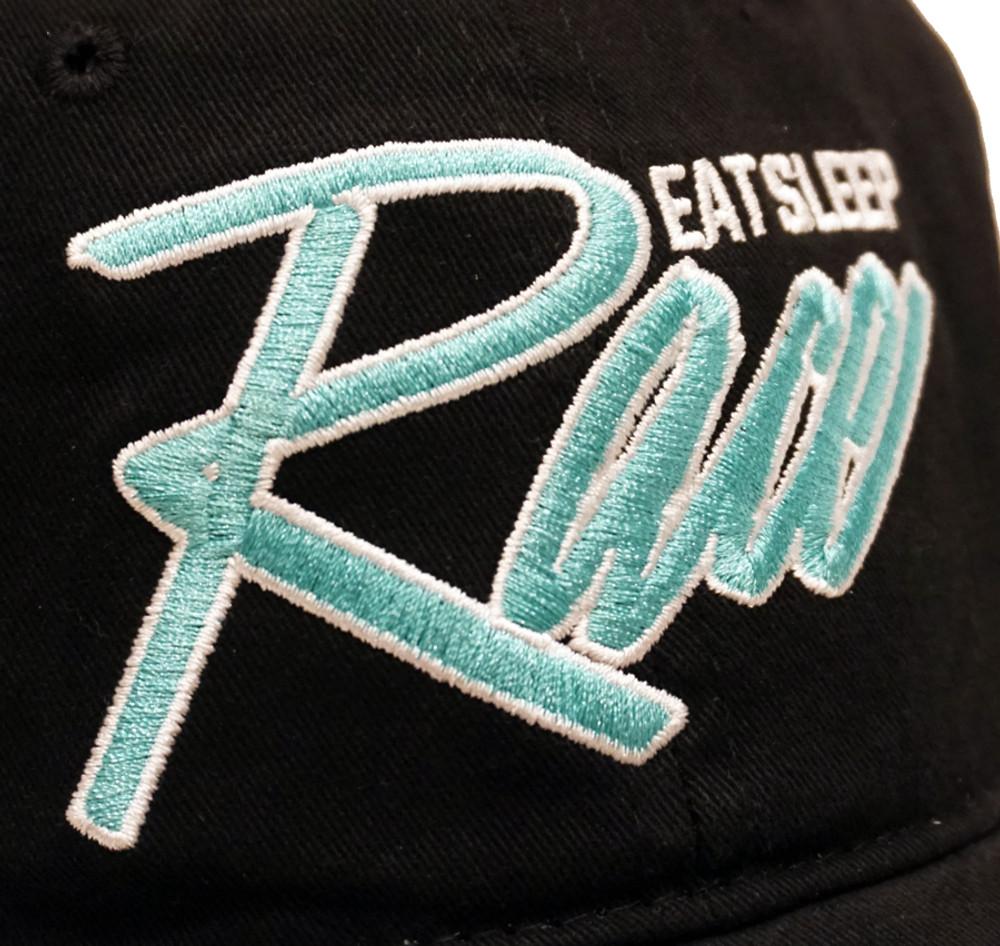 Script Sport Strapback Hat   Black/Teal
