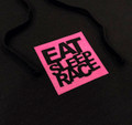 Ladies Pull Over Hoodie Logo Square | Black/Pink