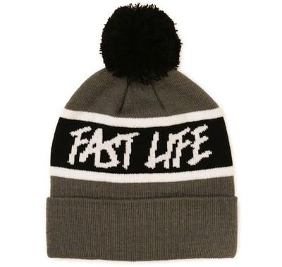 Fast Life Pom Beanie | Grey/Black