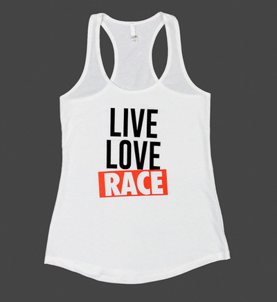 Ladies Live Love Race Tank Top | White