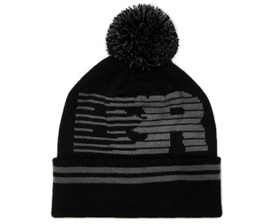 Speedlines Pom Beanie | Black/Grey
