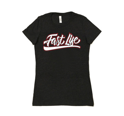 Ladies Fast Life Shirt | Charcoal/Red