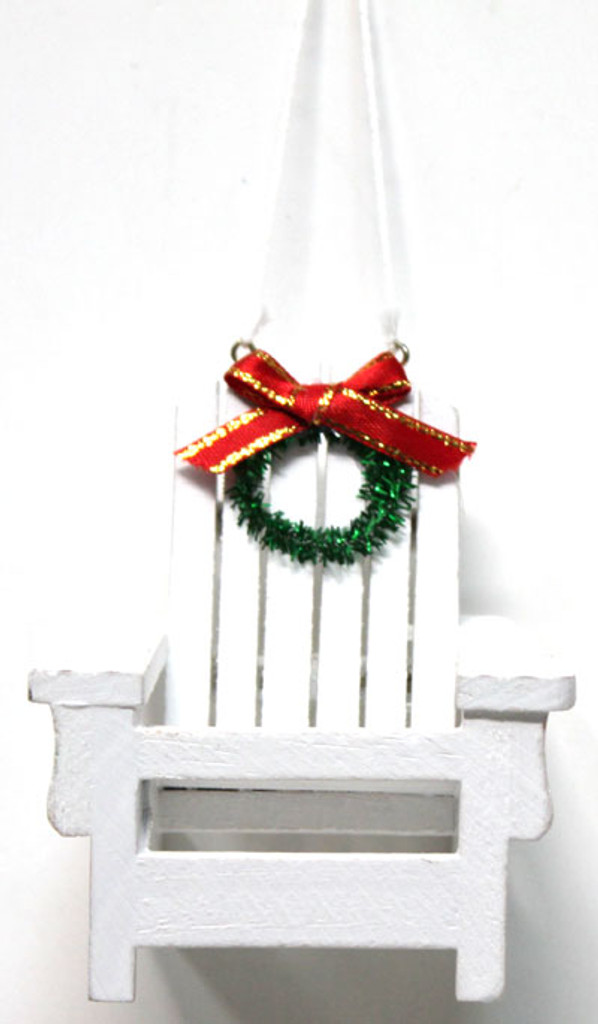 white wood adirondack beach chair ornament - Decorating Adirondack Chairs For Christmas
