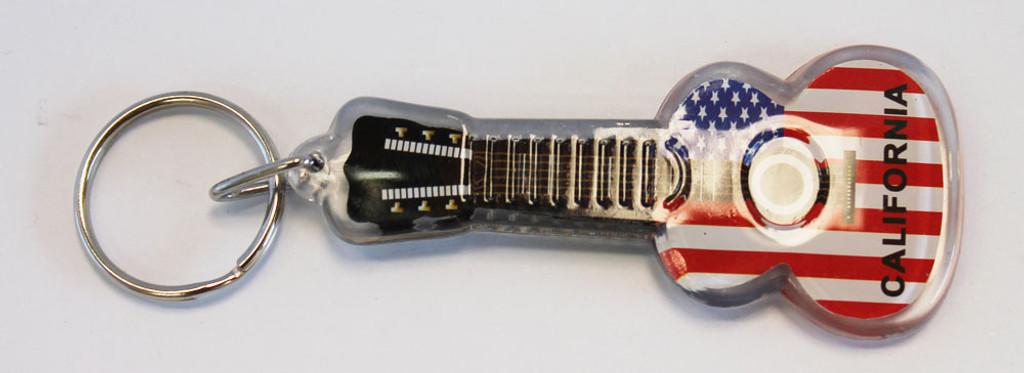 Plastic California Patriotic Guitar Keychain California Seashell