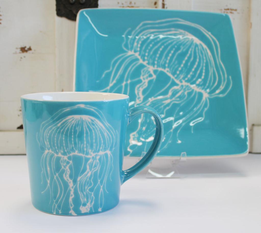 "Handmade Ceramic Platter In Coastal Kitchen: Ceramic 8.25"" Jellyfish Salad Plate"