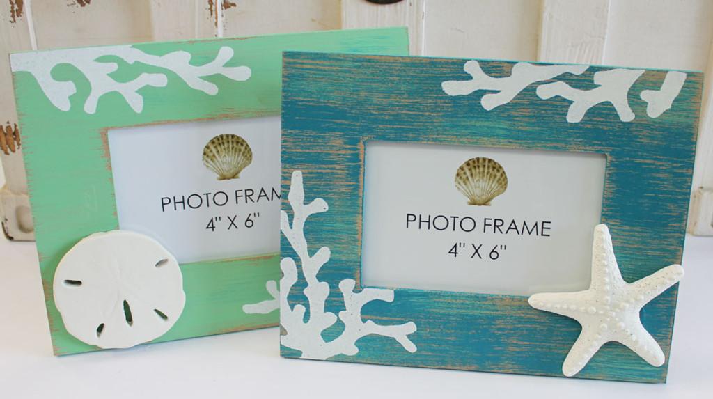Starfish & Sand Dollar Coastal 4x6 Picture Frames - Set of 2 ...