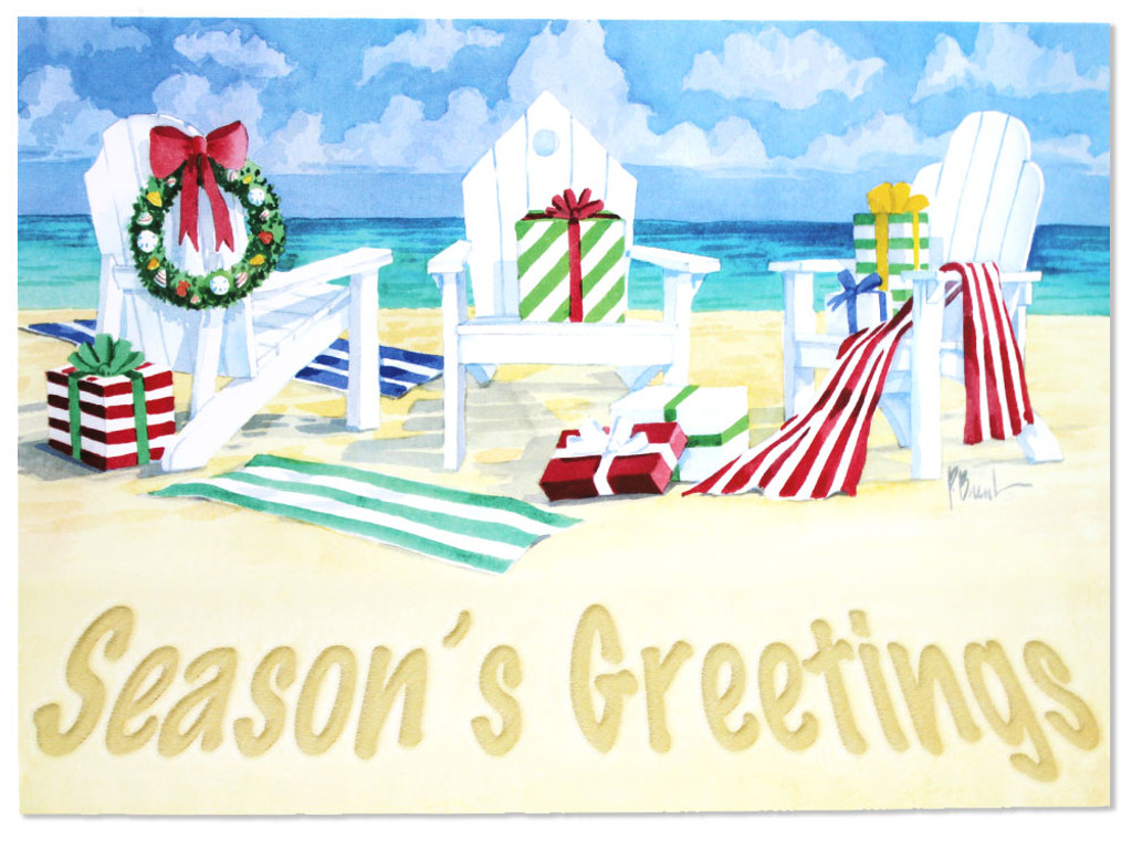 Seasonu0027s Greetings   Three Beach Chairs Holiday Cards