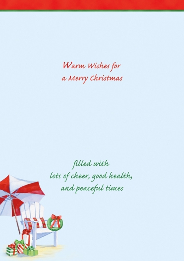 Warm Wishes for a Merry Christmas filled with lots of cheer, good health, and peaceful times.