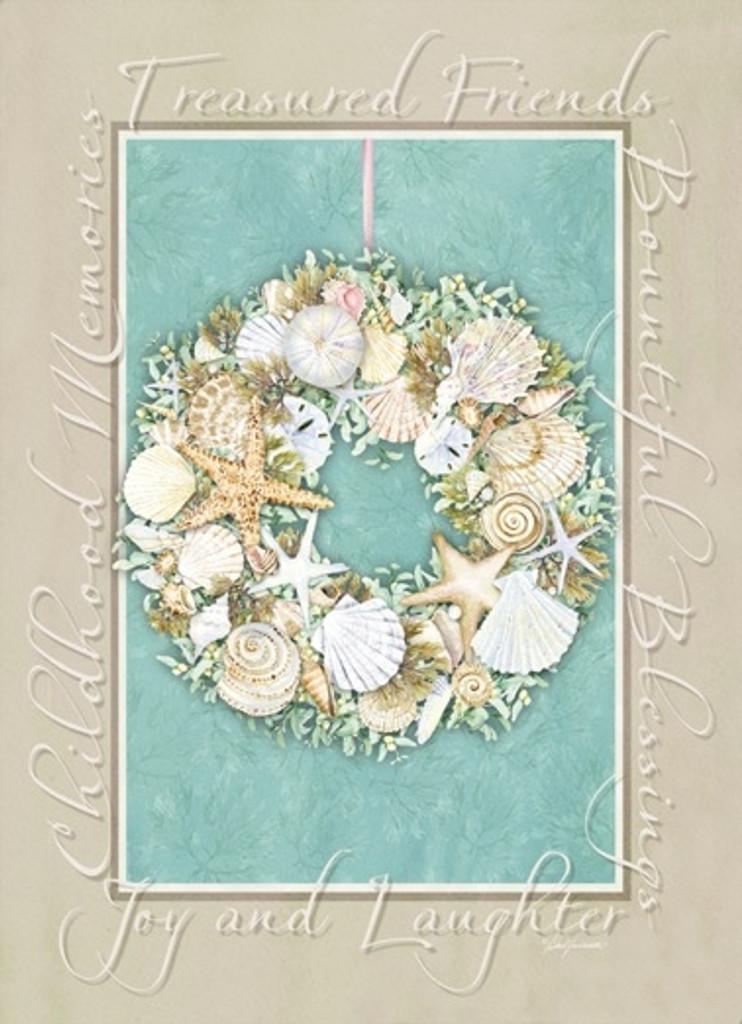 starfish wreath holiday cards coastal christmas stationery