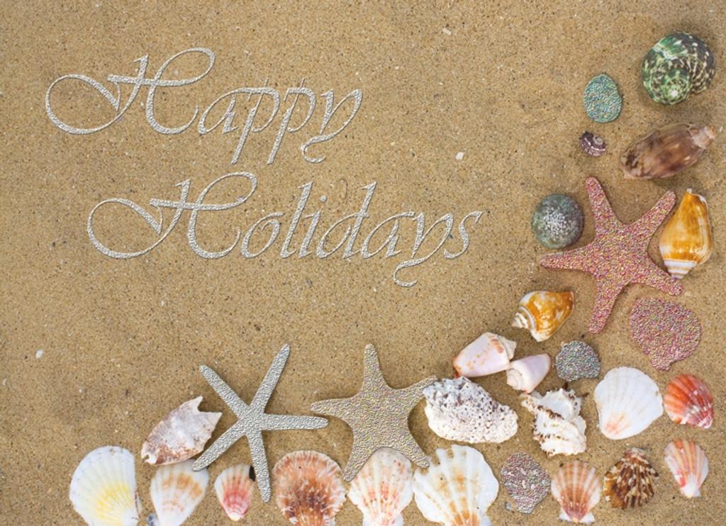 Red Starfish Glitter Card