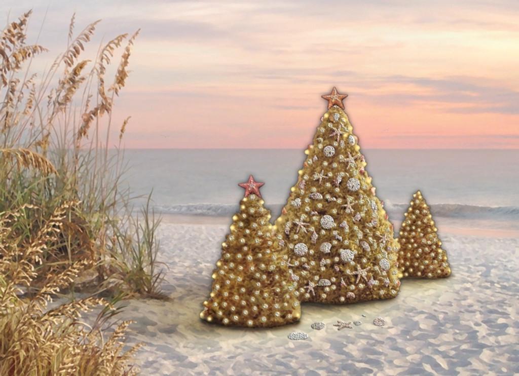 Trees & Beach Grass Holiday Cards - Coastal Christmas ...