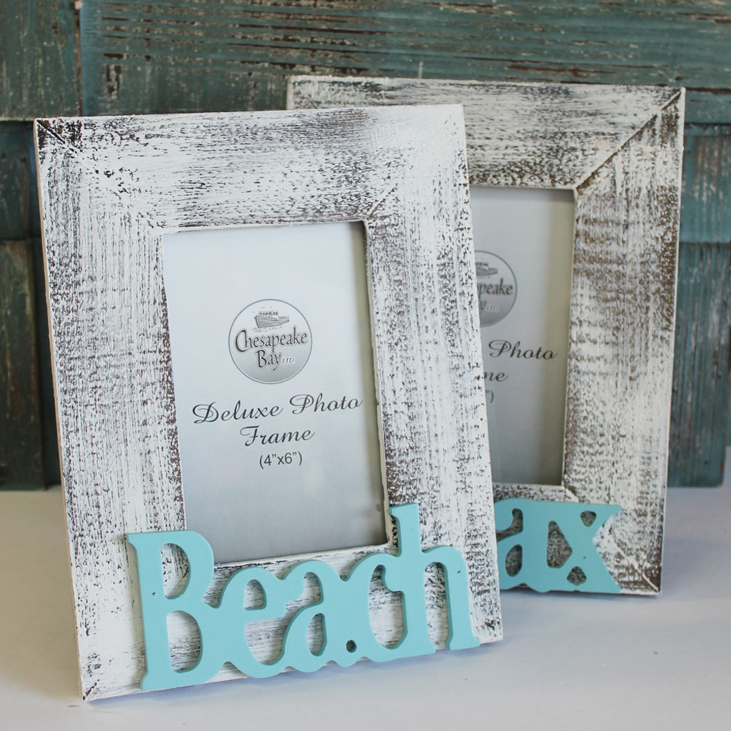 Beach & Relax 4x6 Picture Frame Set - White Washed Coastal Frames ...