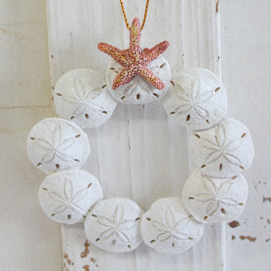 resin sand dollar wreath christmas ornament coastal holiday decor