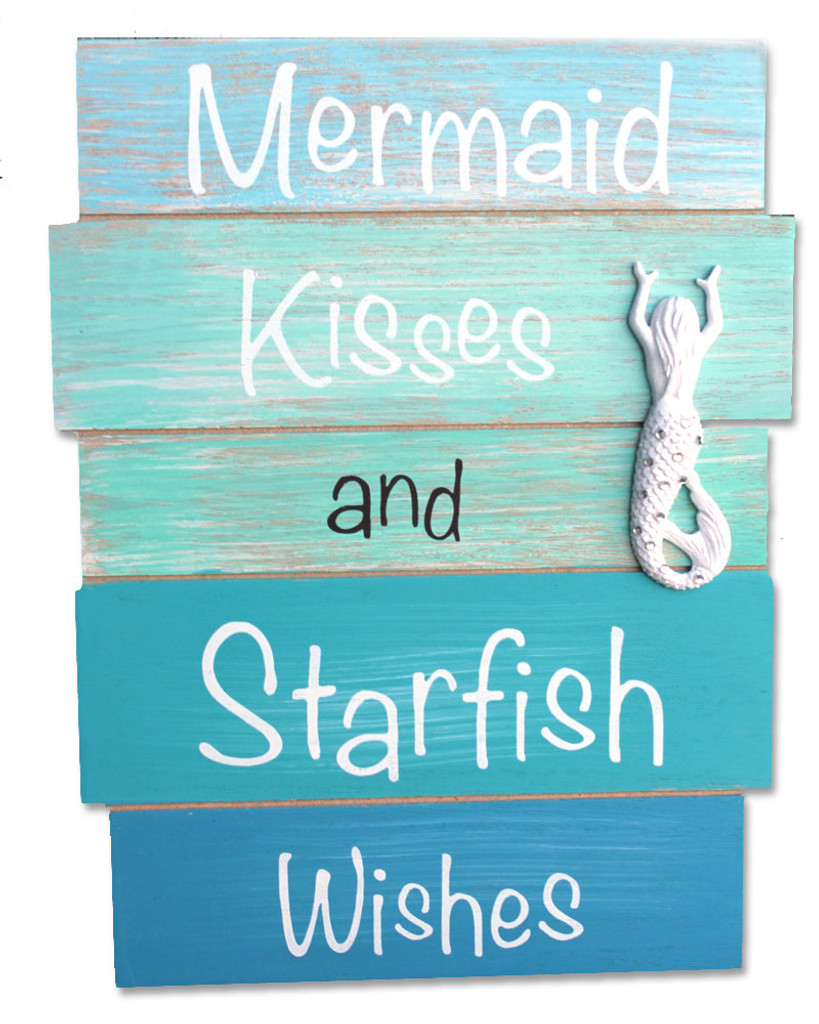 Mermaid Kisses and Starfish Wishes Plank Sign