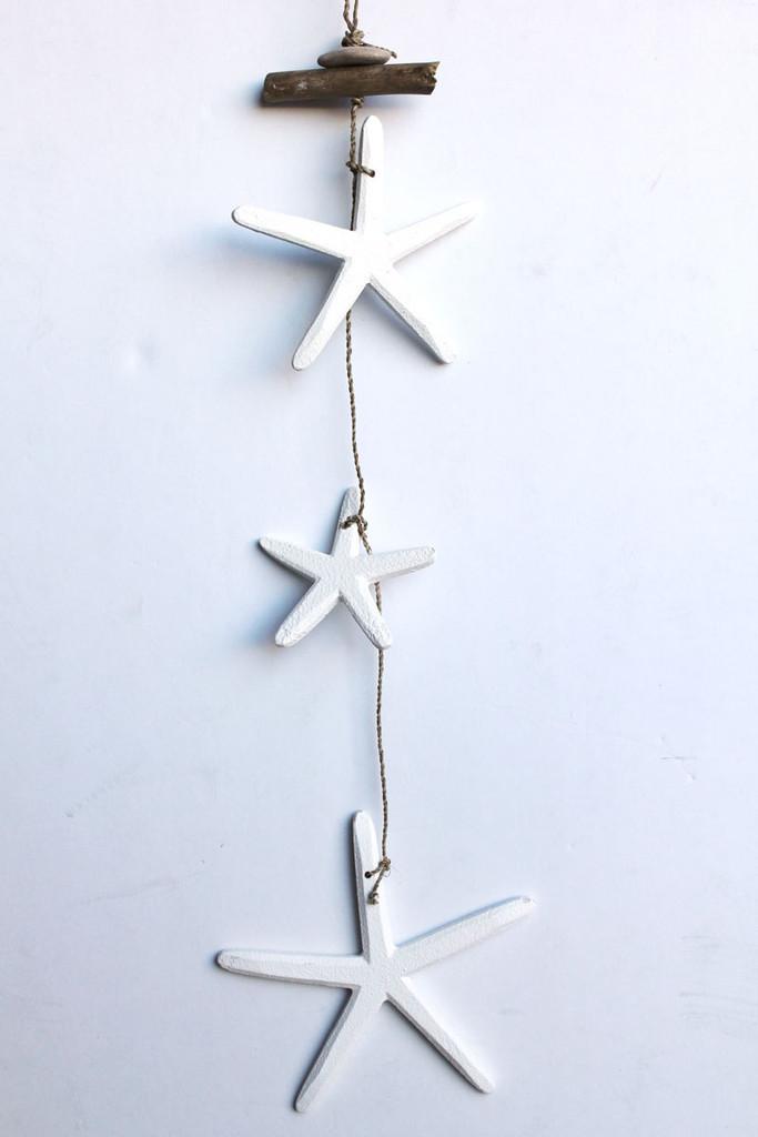 Small White Wood Starfish Dangle