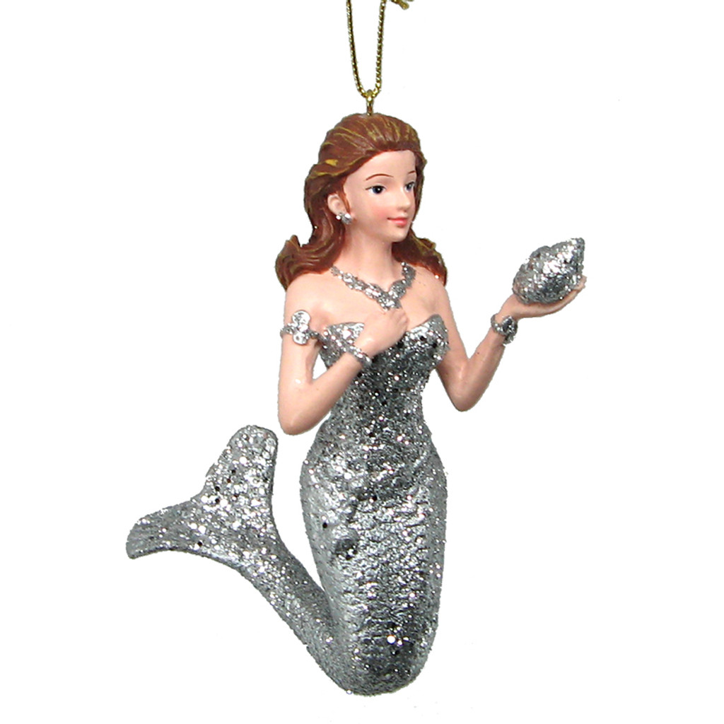 Silver Mermaid Ornament