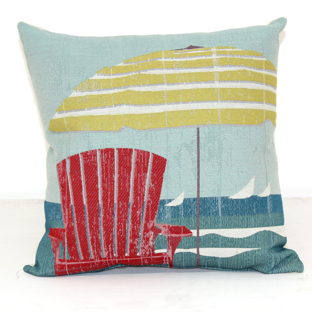 Red Chair U0026 Beach Umbrella Pillow